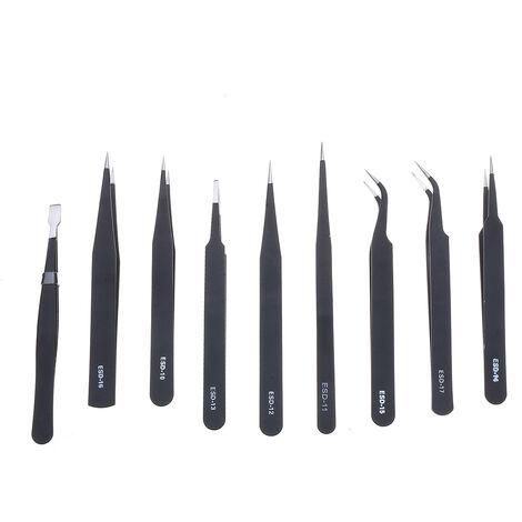 "main image of ""9x set of precision tweezers purpose tool stainless steel anti-static bag + Mohoo"""
