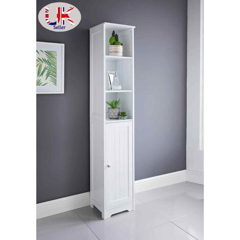 A Brand New White Wood Tall Boy Storage Cabinet Unit