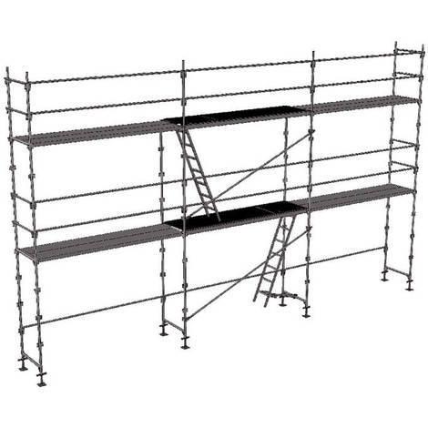 A. Echafaudage fixe de 60m² : Structure + Planchers en version lisses; sous-lisses et diagonales