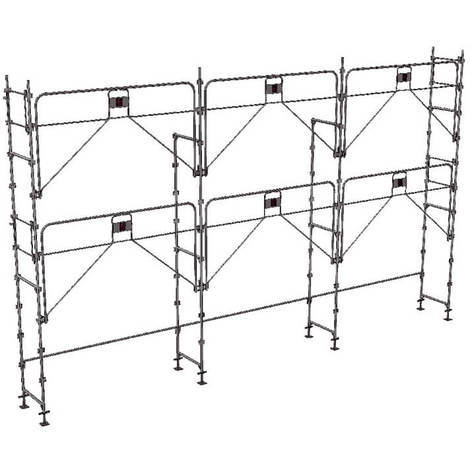 A. Echafaudage fixe de 60m² - Structure seule - Version garde-corps monobloc