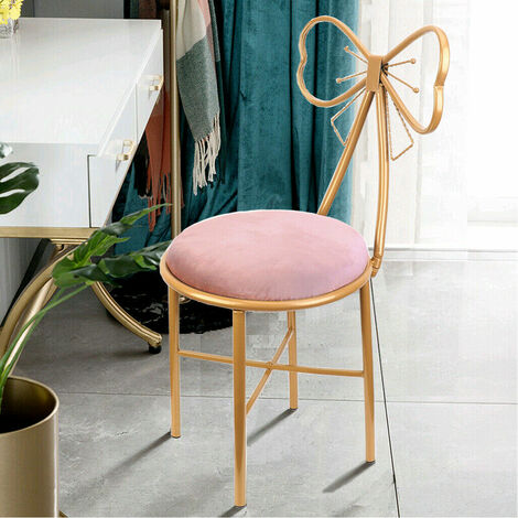 A Pair Pink Velvet Makeup Chairs Dressing Stool Upholstered Chair Mid Century