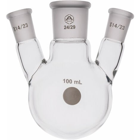 A PLUS Round Bottom Flask Three Neck 100ml Centre Joint 24/29 Angled Joint 14/23