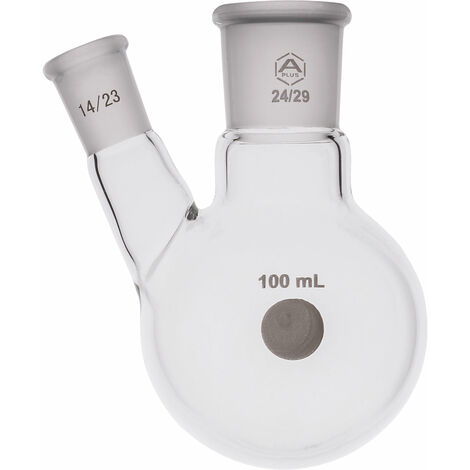 A PLUS Round Bottom Flask Two Neck 100ml Centre Joint 24/29 Angled Joint 14/23