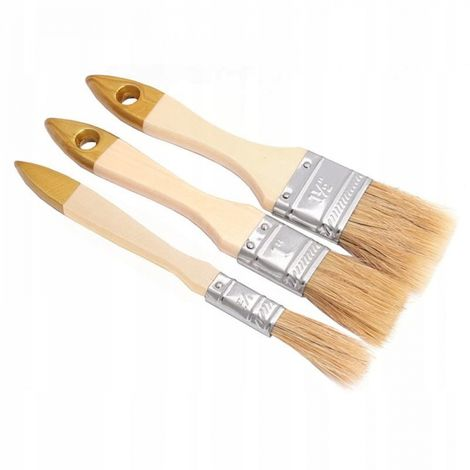 A set of 3 paint brushes. English brush