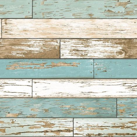 A Street Prints Wood Effect Wallpaper Distressed Scrap Wooden Teal White Brown