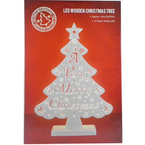 """main image of """"""""A Very Merry Christmas"""" LED Wooden Christmas Tree"""""""