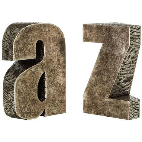 A z bookends,polyresin,antique silver