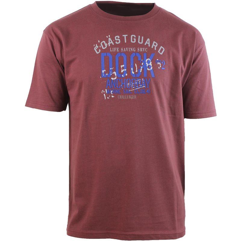 A2135A Tee Shirt Print Poitrine Bordeaux 3Xl - Bordeaux