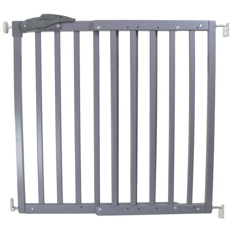 A3 Baby & Kids Safety Gate Oslo 71-102cm Wood Pet Barrier Fence White/Grey