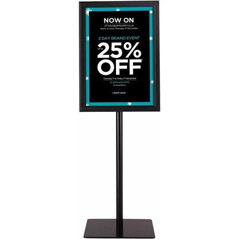 A3 Présentoir Stand Support d'Affiche sur Pied en Acier Inoxydable Hauteur Ajustable 78,5cm-123cm Noir Publicitaire Stand