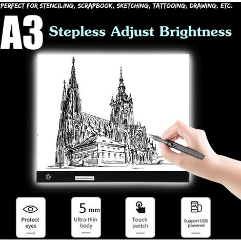 A3 Stepless Adjust Brightness Art Craft Drawing Copy Tra??Age Tra??Age Led Bo??Te Thin Pad Light With Usb Cable Hasaki