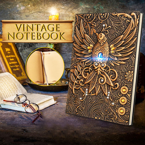A5 3D Vintage Embossed Phoenix Ancient Leather Printing Computer Laptop Vintage Journal Diary Book Pu Leather Cover Writing Book Gifts