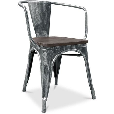 A56 chaise Tolix en bois Pauchard Style Nouvelle édition - Métal Noir