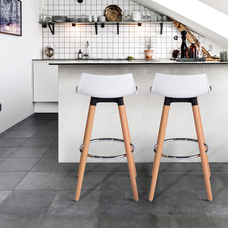 A5P1 Lot de 2 Tabouret de Bar Blanc