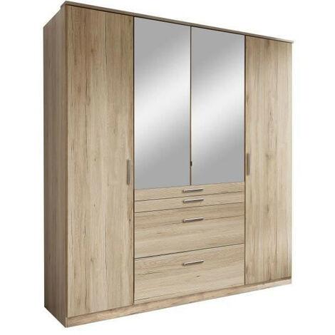 AACHEN Armoire 4 portes miroir 4 tiroirs - Aspect chene San Remo - L 180 x P 58 x H 198 cm