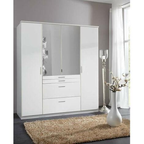 AACHEN Armoire de chambre - Contemporain - Décor blanc - L 180 cm