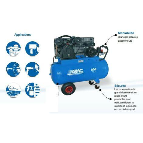 ABAC – Compresseur Bi-cylindre en V - 3CV 100 litres – VCF2/100 CM3