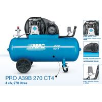 ABAC - Compresseur d'air Pro 3CV 270 litres 23,6 m3/h 10bar - PRO A39B 270 CM3