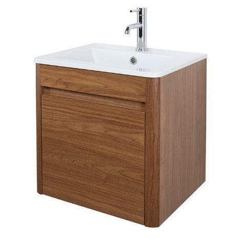 Abacus D-Style 50cm Basin & Vanity Unit Walnut