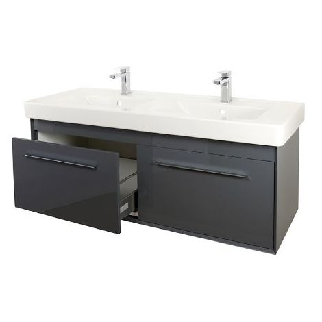 Abacus Simple 130cm Double Basin Vanity Unit Anthracite