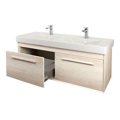Abacus Simple 130cm Double Basin Vanity Unit Bleached Oak