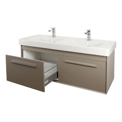 Abacus Simple 130cm Double Basin Vanity Unit Terra Matt