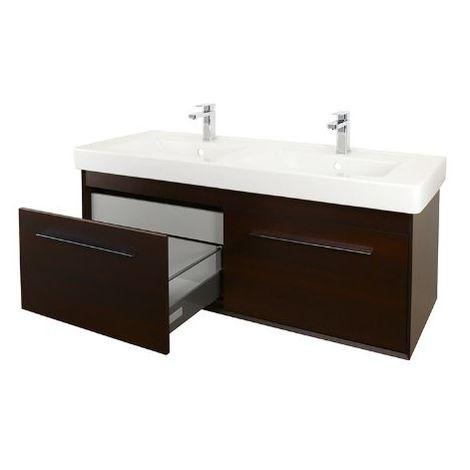 Abacus Simple 130cm Double Basin Vanity Unit Wenge