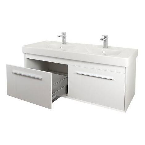 Abacus Simple 130cm Double Basin Vanity Unit White