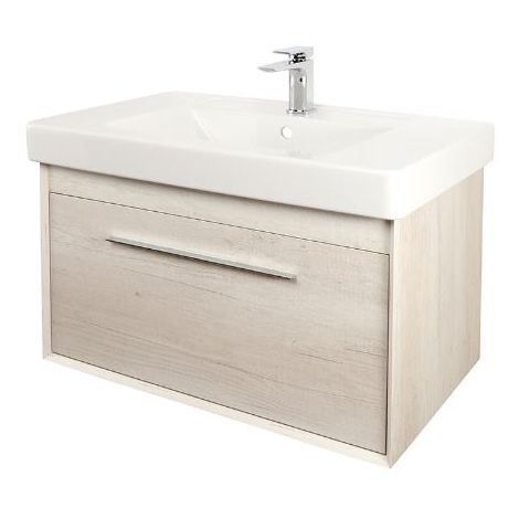Abacus Simple 80cm Basin Vanity Unit Bleached Oak