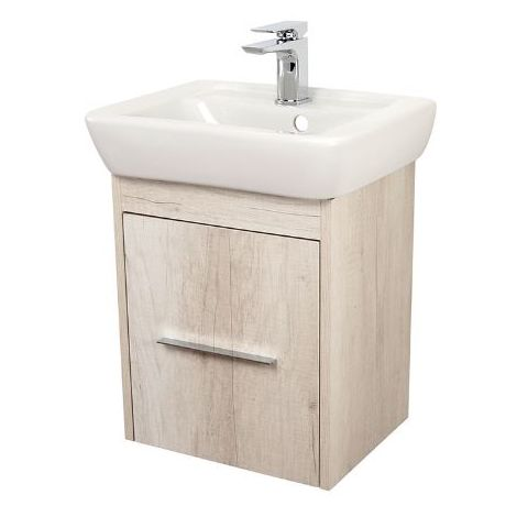 Abacus Simple Cloakroom 45cm Basin Vanity Unit Bleached Oak
