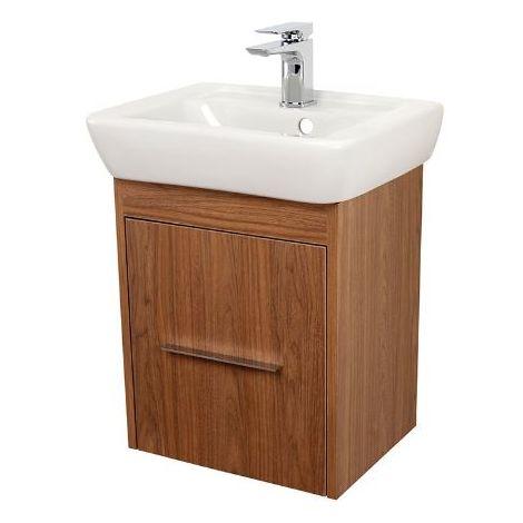 Abacus Simple Cloakroom 45cm Basin Vanity Unit Walnut