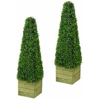 Abaseen 2 x Artificial Trees 3ft Pyramid Cones - Indoor artificial trees - Topiary trees