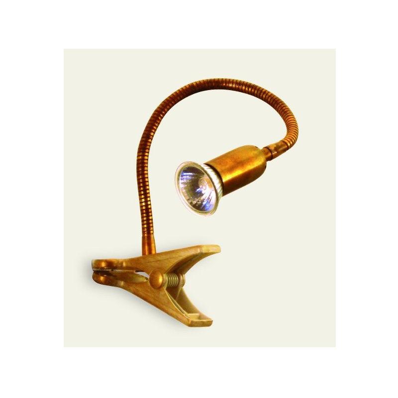 Abat-jour ba-fox a1 pin gu10 led ottone pinza flessibile orientabile lampada tavolo scrivania classica rustica interno - LAMPADARI BARTALINI