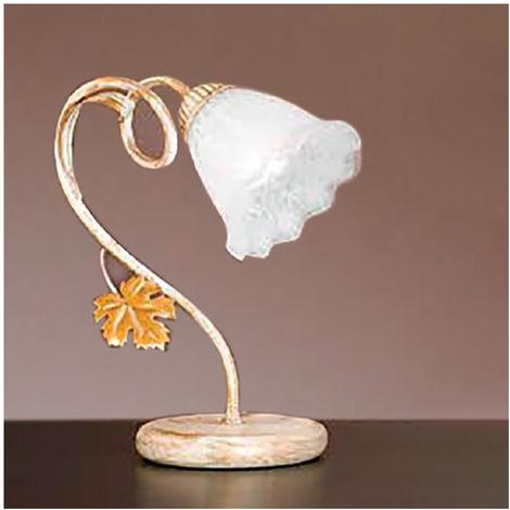 Abat-jour dp-aida l e14 led metallo avorio ruggine vetro fiore lampada tavolo classica floreale interno