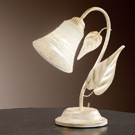Abat-jour dp-tosca l e14 led ferro bianco brunito campanina vetro lampada tavolo classica floreale