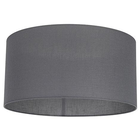 Abat-jour en tissu Graphite / Antracite / Gris Foncé 50/50/25 Qazqa Moderne Cylindre / rond