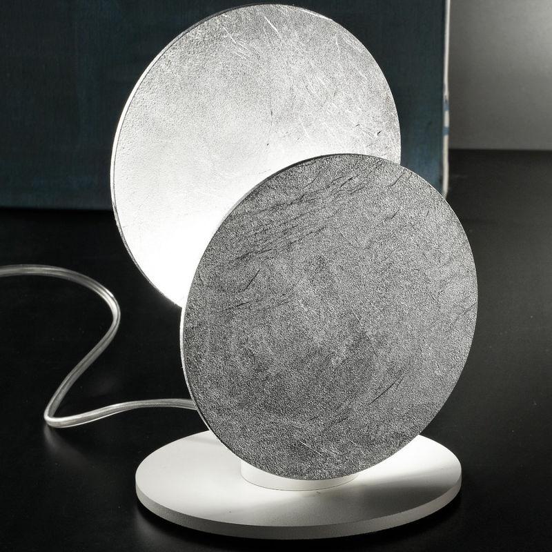 Fratelli Braga - Abat-jour fb-nuvola 2092 l 4.5w led 400lm metacrilato opalino bianco foglia argento lampada tavolo moderna, finitura metallo corten