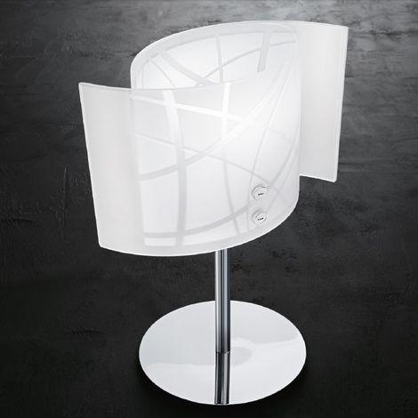 Abat-jour ge-nereide l e14 led vetro bianco serigrafato lampada tavolo comodino moderna interno