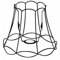 Abat-jour Granny Frame 25cm DS E27 noir Qazqa Retro Minimaliste Vintage Cage Lampe Rond