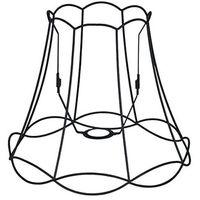 Abat-jour Granny Frame 35cm DS E27 noir Qazqa Retro Minimaliste Vintage Cage Lampe Rond