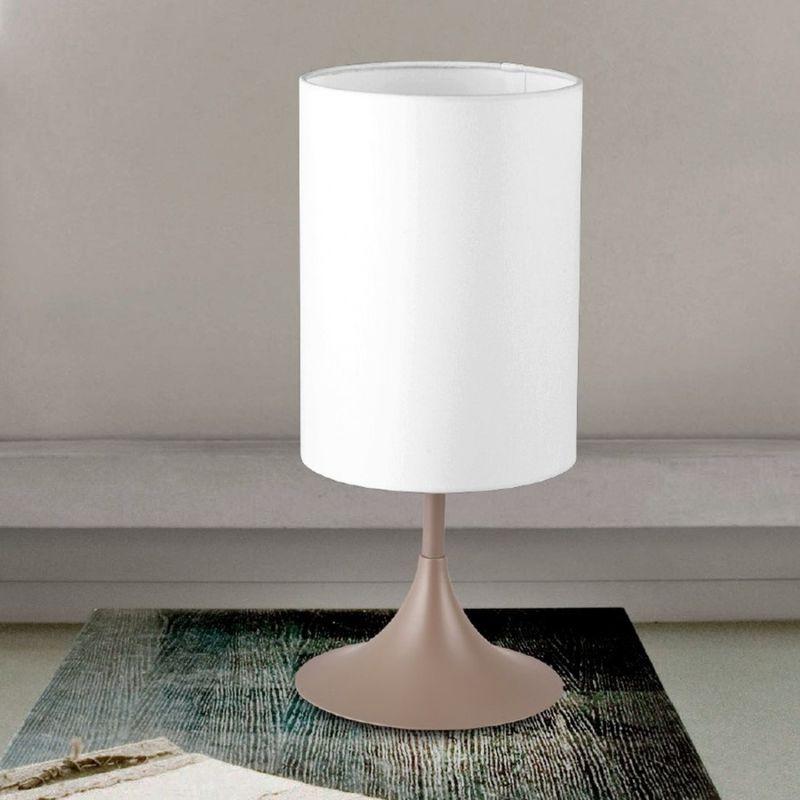 LAM - Abat-jour lm-flute 9090 1l 36cm e14 led moderna tessuto ignifugo metallo cilindro bianco nero pada tavolo interni, paralume bianco, finitura