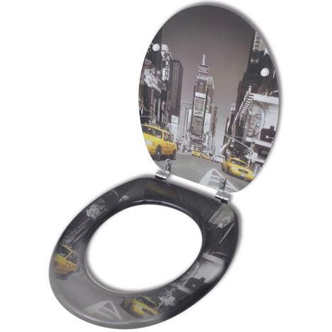Abatant de WC avec couvercle design New York