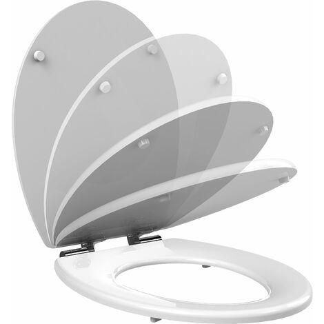 Abattant de toilette Bois Blanc double frein de chute Ralentisseur Couvercle et siege WC MDF