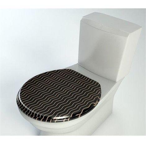 Abattant de toilette bois compresse MDF WC Double frein chute ralentisseur Charnières inox