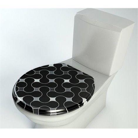 Abattant de toilette bois compresse MDF WC Double frein chute ralentisseur et Charnière metal