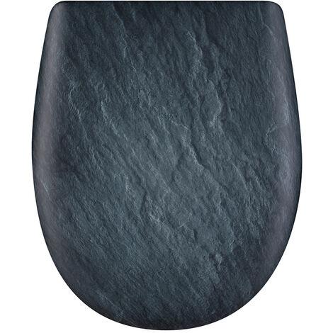 Abattant de toilette - Bois Reticule - OLFA - Ariane Ardoise Descente Assistee Declipsable - Ardoise