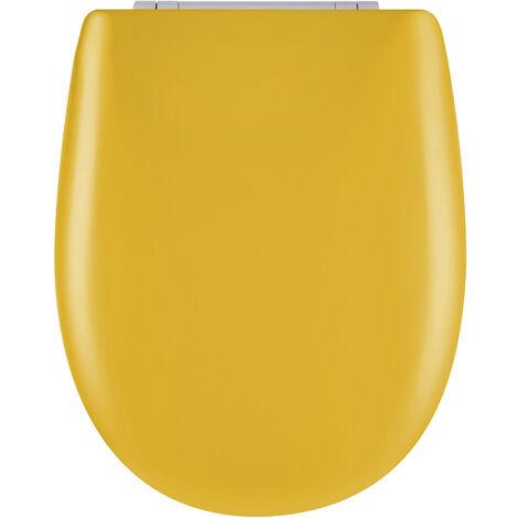 Abattant de toilette - Bois Reticule - OLFA - Ariane Jaune Souffre Descente Assistee Declipsable - Jaune Soufre