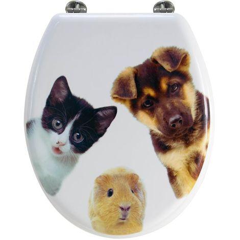Abattant de toilette en bois compressé MDF animaux chien chat Siege WC standard