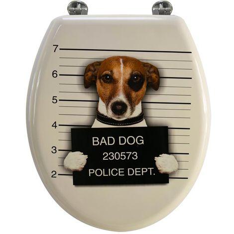 Abattant de toilette en bois compressé MDF Bad dog blanc creme Siege WC standard
