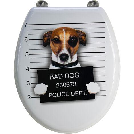 Abattant de toilette en bois compressé MDF Bad dog blanc Siege WC standard